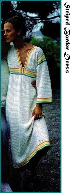 Vintage Crochet  Hippie 70s STRIPED BORDER Dress by KinsieWoolShop, $3.20