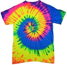spiral neon rainbow tie dye shirt