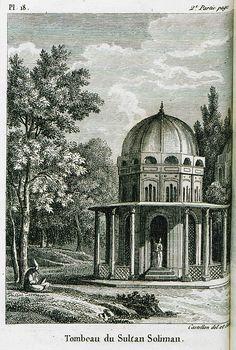Kanuni Sultan Süleyman türbesi gravürü - Tombeau du Sultan Suleiman-1811