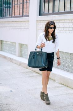 Ann Taylor skirt {more here} | Joie blouse | Madewell bille ankle boot  | Alexi and Ani bracele...