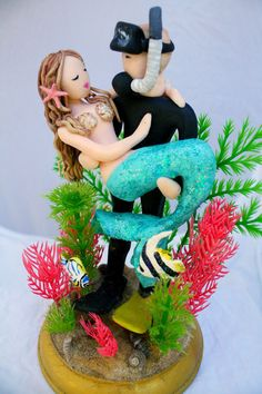 Mermaid and Scuba Diver Wedding Cake Topper by CrimsonMuse on Etsy; Beach wedding, nautical wedding, customized cake topper, beach bride, mermaid wedding