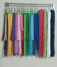 Zipper organization / storage Hang using Ikea Bygel rail with S hooks and jumbo wonder clips! I love mine!!!