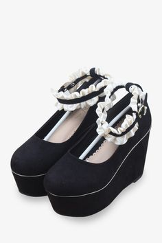 Lace D'orsay Wedges In Black
