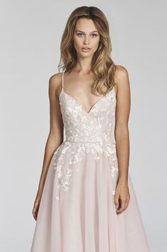 """Denver""- style:1709-Pink Berry posy-embroidered net A-line gown, spaghetti strap sweetheart bodice, full circular skirt with floral embroidery."