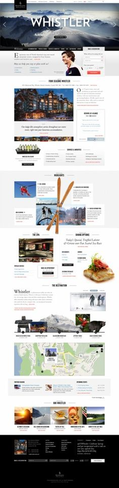 This site does a number of really nice things. Not only does it seem pretty legit, it adds a second sub-CTA under the main banner, and it compliments the huge square image with some nice cut-out isolated images. - Whistler Hotel #hotel #website #menu #scroll