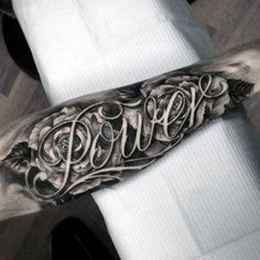 Negative Space Rose Flower Powers Male Name Forearm Tattoo
