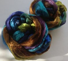 Hand Dyed Mulberry silk roving 2oz Tui by FiberArtemis on Etsy, $16.00