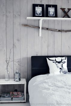 single paneled wall behind the bed