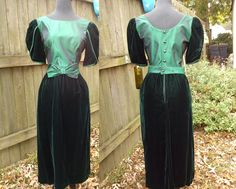 80s Prom Dress/ Emerald Green Dress /Vintage Dress /80s Dress/ Lanz Originals Dress/ Velvet and Satin Dress/ Party Dress Estimated Size 8