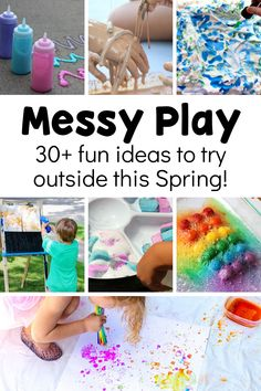 We love messy play, and spring is the perfect time to take the learning exploration outside! Your kids won't be able to get enough of these sensory, art, and science messy play ideas that are perfect for spring! Early Learning Activities, Outdoor Activities For Kids, Games For Toddlers, Spring Activities, Sensory Activities, Infant Activities, Kindergarten Activities, Kids Learning, Sensory Art