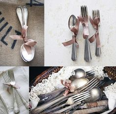 ribbon around silverware