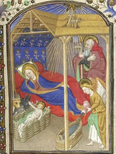 Nativity from @blmedieval Sloane 2468. Jesus befriends the animals while angel prepares bath.