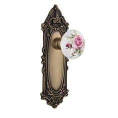 Nostalgic Warehouse White Rose Porcelain Privacy Door Knob with Victorian Plate Finish: