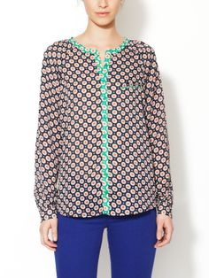 Printed Button Front Blouse by Isabel Lu at Gilt