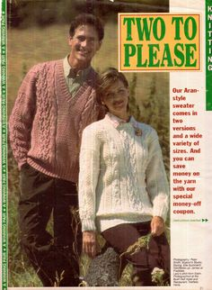 Genuine Vintage '2' His and Her Stunning Aran Unusual Patterned Jumpers Knitting Supplement see picsx