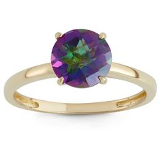 2 Tcw Tiara Round-cut Mystic Green Topaz Ring in 10k Yellow Gold - (9), Rainbow Quartz