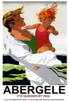 Abergele Rail Poster, North Wales - vintage travel beach poster