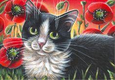 Tuxedo Cat Poppies Painting