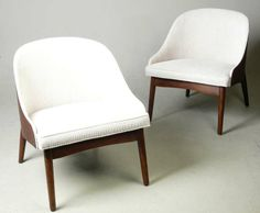 Pair of 1960s Walnut Cased Kodawood Barrel Back Chairs