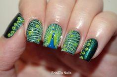 ErinZi's Nails: Peacock nail art with Illamasqua Viridian
