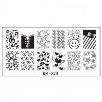 Full Nail Designs - XL Stamping Plate: BM-XL11, Crazy Love