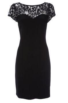 Black Lace Mesh Ponte Dress .  Love this dress!       Price:£38.00