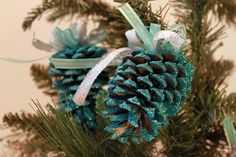 Christmas Ornaments Frosted Pinecones in Turquoise 4 Count. $22.10, via Etsy.
