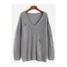 SheIn(sheinside) Grey V Neck Drop Shoulder Ripped Sweater ($24) ❤ liked on Polyvore featuring tops, sweaters, grey, ripped sweater, sweater pullover, grey pullover sweater, gray pullover sweater and long sleeve pullover sweater