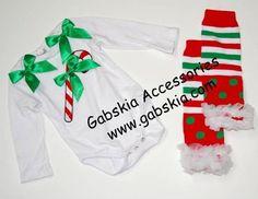 Candy Cane Onesie set with Leg Warmers  only $9.99  www.gabskia.com
