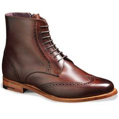 Barker Ladies Shoes – Faye Brogue Boots – Walnut Calf. A stylish lace up boot with punched wing tip detail and inner side zip. Made in England.