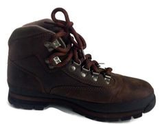 Timberland Womens 8M Brown Leather Euro Hiking Trail Ankle Boots 95310 #Timberland #HikingTrail