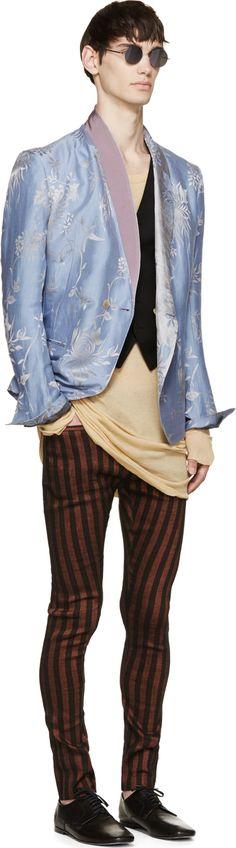 Haider Ackermann Rust & Black Striped Trousers