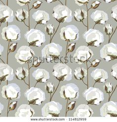 stock vector : Cotton plant floral seamless pattern