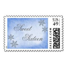 Sweet 16 Winter Wonderland Sparkle Snowflakes Blue Postage. Wanna make each letter a special delivery? Try to customize this great stamp template and put a personal touch on the envelope. Just click the image to get started!
