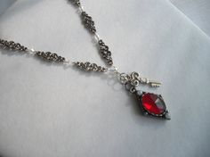 Gothic Red and Silver Tone Vintage Inspired by handcraftusa