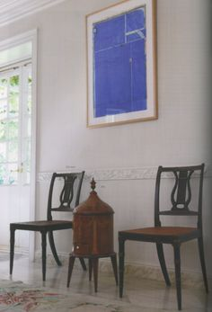 George III Parcel Gilt Rosewood Caned Dining Chairs and a Diebenkorn.