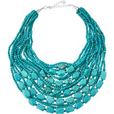 Nakamol Turquoise-Hued Beaded Statement Necklace ($105) ❤ liked on Polyvore featuring jewelry, necklaces, lobster, multi strand beaded necklace, layered chain necklace, turquoise strand necklace, turquoise jewelry and layered necklace