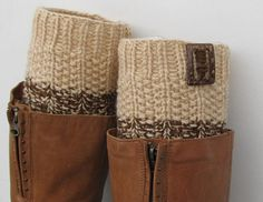 Knit Boot Cuff 2 in 1 Knit Boot Cuff beige / beige and by Sizana Knitting Accessories, Winter Accessories, Handmade Accessories, Knitted Boot Cuffs, Knit Boots, Short Brown Boots, Wellies Boots, Boot Toppers, Color Beige