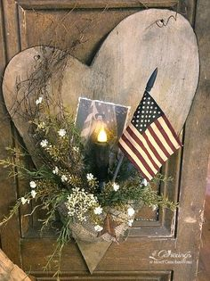 Patriotic Heart Cut Out Arrangement   from Gatherings at Muncy Creek BarnWorks