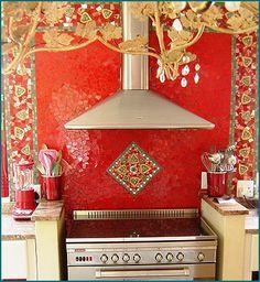 Love the Moorish influence on this backsplash Mosaic Tiles, Mosaics, Mosaic Artwork, Moorish, Home Interior, Backsplash, Kitchens, Projects To Try, Craft Ideas
