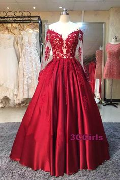 Vintage prom dress, off-shoulder prom dress, ball gown, elegant red lace satin long evening dress with sleeves
