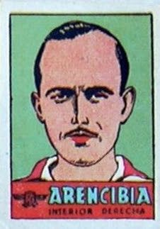 Arencibia. Atlético de Madrid. 1941-42. Cromos Bruguera. Interior derecha titular.
