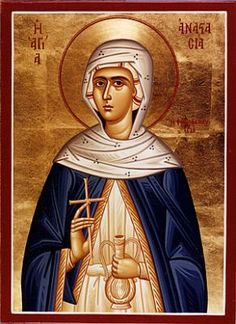 Saint Anastasia of Sirmium, our family patron for the year. Patron of martyrs. Religious Images, Religious Icons, Religious Art, Byzantine Icons, Byzantine Art, St Anastasia, Coat Of Many Colors, Holy Mary, Orthodox Icons