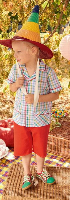 83ad8be879be85 GUCCI Boys Multi Color Check Shirt   Red Shorts for Spring Summer 2018.  Super cute