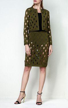 Olive Green Basket Weave Bandage Skirt Suit
