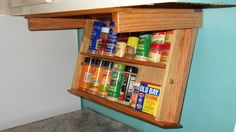 Under cabinet mount spice rack, drawer easily drops down to display spices wood - Spice Jars & Racks