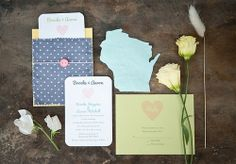 Life of a Vintage Lover: Homespun Wisconsin Inspiration - OMG, the state-shaped cut-out is too cute! Country Wedding Inspiration, Wedding Invitation Inspiration, Unique Wedding Invitations, Wedding Stationary, Invites, Invitation Ideas, Wedding Paper, Wedding Cards, Wedding Bells