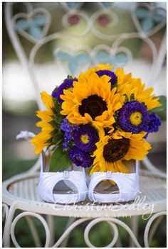 Sunflower, Purple Static flower and Matsumoto Aster Bouquet.
