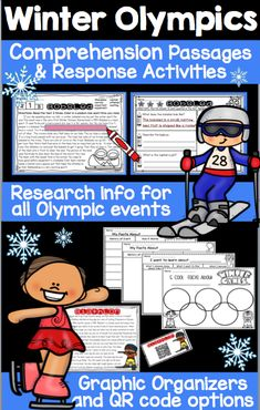 Want to harness the excitement of the Winter Olympics? This package is designed to help Grade 2 and 3 readers learn basic information about the different Winter Olympic events. 2nd Grade Teacher, Third Grade Math, Grade 2, Fourth Grade, Second Grade, Reading Comprehension Activities, Reading Passages, Literacy Activities, Spelling Words List