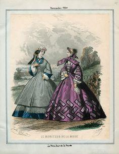 In the Swan's Shadow: Le Moniteur de la Mode, November 1860.  Civil War Era Fashion Plate